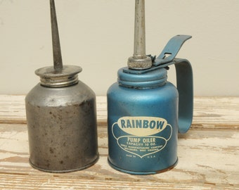 Mid Century Pair Oil Cans Blue Rainbow