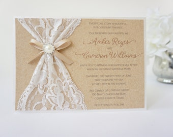 abigail burlap lace wedding invitation by peachykeenevents, Wedding invitations