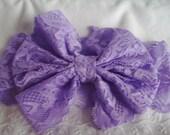 Stretch Lace Headband - Purple Lace Headband - Messy Bow Headband - Purple Messy Bow Headband - Toddler/Teen Headband - Wide Lace Headband