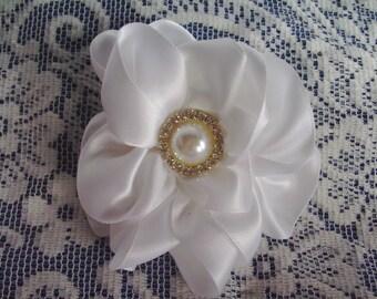 White Flower Barrette - French Style Barrette with Flower - White Satin Flower Barrette - Prom Barrette - Bridal Barrette - First Communion