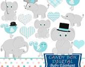Baby Elephant Clipart, Baby Elephant Clip Art, Baby Boy Clipart, Baby Clipart, Baby Boy Clip Art, Baby Shower- Commercial Use OK