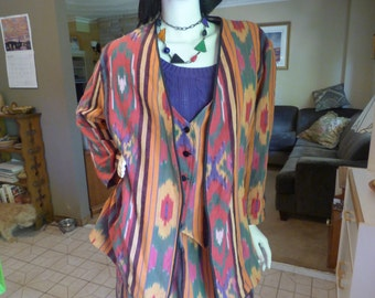 Vtg. 60's Woven Cotton Guatemalan blazer, vest, skirt set Hippie Boho Sz. PL