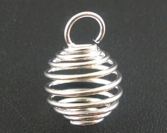 12 Little BEAD CAGES Wire Wraps 10x12 mm Silver Plated Cage for Beads, Crystals Any Small Treasure Jewelry Small Pendant or Charm