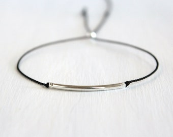 Minimalist Friendship Silk Cord Bracelet Best Friend Gift Dainty Jewelry Delicate Sterling Silver Beaded Bracelet