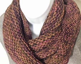 Merino wool Long Cowl/Infinity Scarf in purple/brown, Hand Knit