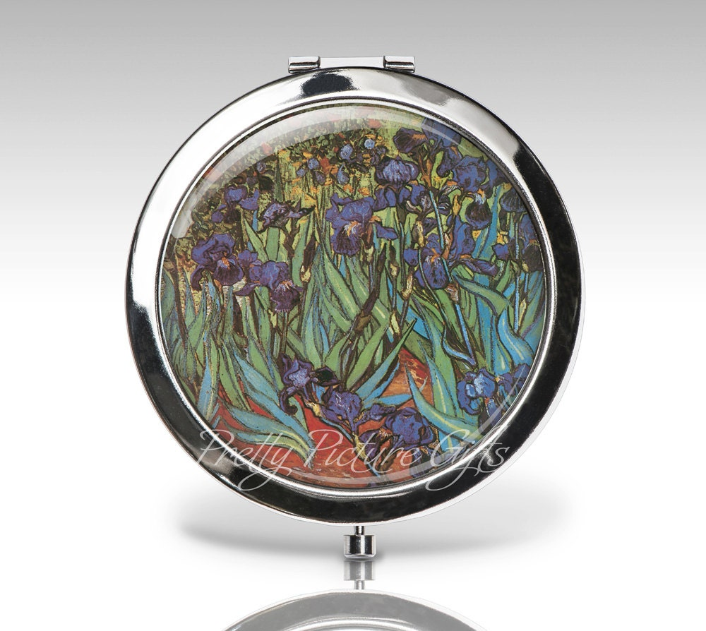 personalized compact mirror van gogh irises magnifying. Black Bedroom Furniture Sets. Home Design Ideas