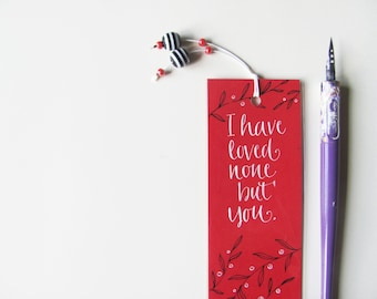 Jane Austen red bookmark, with handwritten calligraphy - Captain Wentworth's letter (MADE TO ORDER)