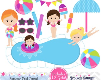 INSTANT DOWNLOAD, pool party clipart or pool party vectors for personal and commercial use