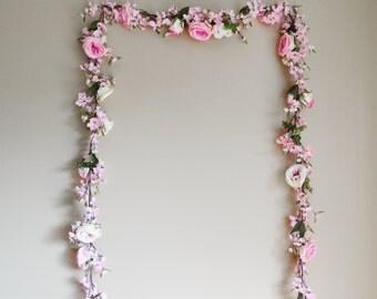 Wedding Garland, Floral Garland, Wedding Arch, Wedding Decoration, Flower Garland, Pink Wedding Garland, Boho Wedding, Wedding Backdrop