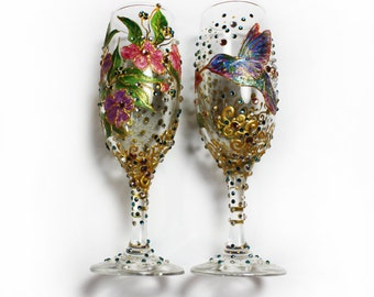 Champagne Glasses, Wine Glasses, Wedding Gifts, Humming Bird Champagne Flutes, Fantasy Wedding Gifts, Glasses Case Glassware