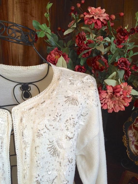 Ivory Cardigan Vintage Sweater Wedding Dress Cover Shabby
