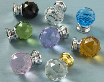 Crystal Glass faceted Cupboard Drawer Door Knobs