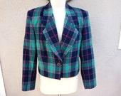 Blue Plaid Blazer, Preppy Blazer, Clueless Blazer, Blue/Green/Pink, Traditional, Conservative, Wool