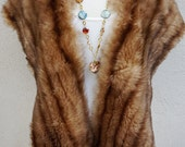 Vintage Brown Fur Stole, Genuine Fur Shawl, Old Hollywood Glamourous, Christmas Holiday Statement