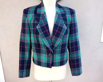 Blue Plaid Blazer, Preppy Blazer, Clueless Blazer, Blue/Green/Pink, Traditional, Conservative, Wool