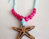 Wood Cutout Starfish Pendant with Hot Pink Wood Beads and Aqua Blue Knit cording, starfish necklace, nautical necklace