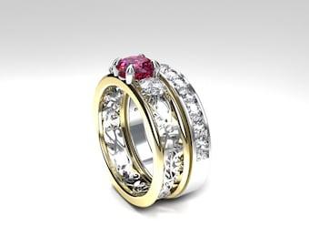 Pink tourmaline and diamond filigree engagement ring set, white gold, yellow gold, unique, pink tourmaline ring, diamond trinity,  two tone