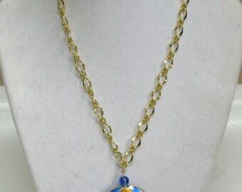 Cloisonne pendant and earrings