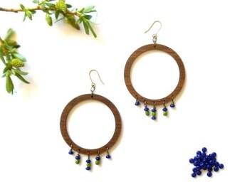 extra large wood hoop earrings // czech glass beaded jewelry
