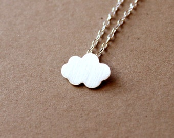 Tiny Sterling Silver Cloud Necklace - Handcrafted Silver Jewelry - Silver Necklace