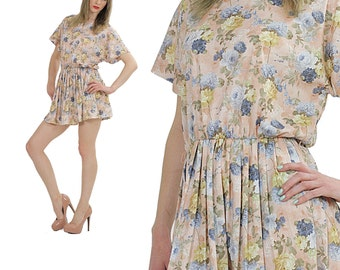 Boho Mini Dress Pastel floral dress Vintage 80s secretary dress pleated dress Festival dress Boho tunic top Hippie dress