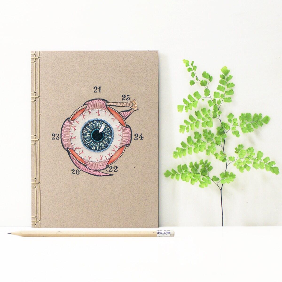 Eye anatomy journal embroidered notebook anatomical