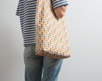 Tote Bag Polka Dot Bright Cotton Tote Bag Funny Tote Casual Bag Hipster Style Multi Color Bag Orange Purple Shoulder Bag Every Day Bag