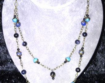 Blue & Brass Necklace