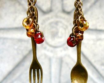 Steampunk Fork & Spoon Earrings - Cutlery Earrings - Dangle Earrings