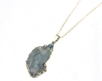 Galaxy Stone Druzy Agate Geode Necklace  on Gold Filled Chain