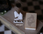 Handmade skates in white incredibly thin and soft leather and real wood sole, scale 1:12