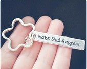 Make Shit Happen Keychain - Motivational Key Ring - Hand Stamped Keychain - Inspirational Accessory