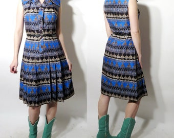 Vintage Sleeveless Blue Print Dress Size 42 / L