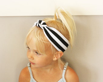 Black and White Stripe Knot Headband - Turban Headwrap - Baby to Adult