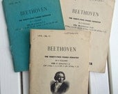 Beethoven the Thirty Two Piano Sonatas Vol l  ll  lll Lea Pocket Scores Petite Vintage Sheet Music Paperback for Art Craft Musical Projects