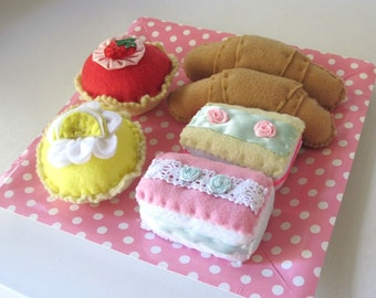 Felt Food French Food Patisserie Set, Croissants, Cupcakes
