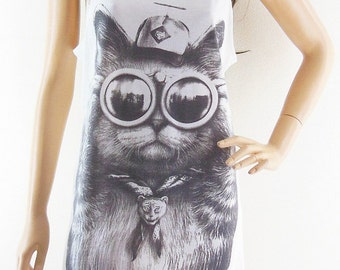 Cat Glasses Animal Tank Cat Tank Top Meow Top Women tank top Cat Shirt Cat T-Shirts Graphic Tank cool tank vintage tee Screen Print Size M