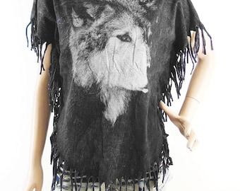 Wolf T Shirt Fox Shirt Dog Shirt Wolf Shirt Bat Sleeve Bleached Shirt Women Shirt Screen Print (Measurements - fits great from S - M)