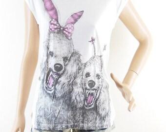 Dog Poodle Pink Shirt Dog T Shirt Cute t shirt funny shirt teenage girl gifts Dogs Tee Women Tshirt Women TShirt Screen Print Size S