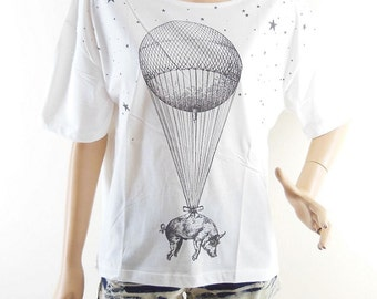 Balloon PigT Shirt Balloon Shirt Style Front Short Than Women T-Shirts Women Crop Top Tee Shirt Screen Print Size L