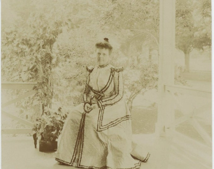 Woman Seated on Summer Porch, Late 1800s Antique Photo Snapshot (54354)