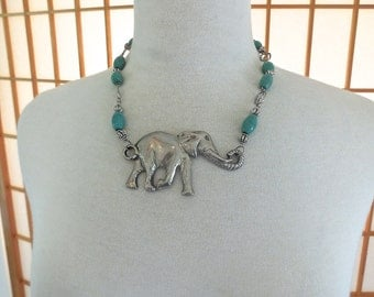 Vintage 90s Large Elephant Necklace in Pewter with Turquoise Dyed Howlite Beads
