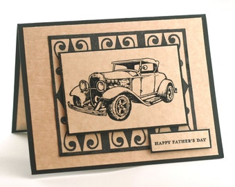 Fathers day card, vintage car blank card, classic auto for dad, happy fathers day, black and tan