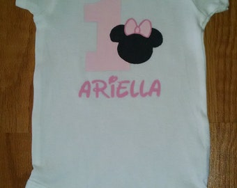 Minnie Mouse 1st Birthday Girl Bodysuit or T-Shirt - Personalized