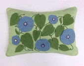 Felt Appliqued Pillow, Penny Rug Pillow, Blue Flowers, OFG, FAAP, Pastel Pillow, Spring Decor, Felt Pillow, Throw Pillow