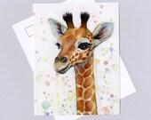 Giraffe Postcard, Watercolor Animal Art, Card, Baby Animal