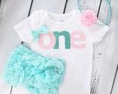 "Pink & Glitter Aqua ""one"" Birthday Onesie- baby girl, toddler, birthday, Headband, Bloomers, cake smash, diaper cover, blue,light pink, 751"