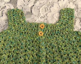 Baby Dress - Pinafore or Sundress - Irish Greens in Crochet - 6 - 12 months - Handmade in Ireland