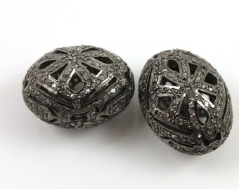 Diamond Oval Pave Bead , 1 Piece 18x13 mm , Designer Pave Diamond, Pave Diamond Jewelry,  Sterling Silver Pave Bead. (DF/BD44)