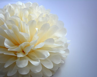 One Ivory Tissue paper Pom Poms // Wedding Decorations // Party Decorations // Pom Poms